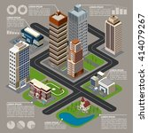 isometric city infographics... | Shutterstock .eps vector #414079267