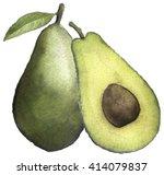 watercolor sketch of an avocado ...   Shutterstock . vector #414079837