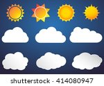 cloud vector icon set white... | Shutterstock .eps vector #414080947