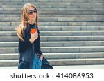 beautiful girl standing on the... | Shutterstock . vector #414086953