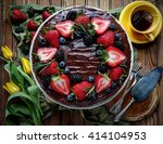 Top View Of Chocolate Cake Wit...