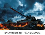 three tanks in a burning field | Shutterstock . vector #414106903