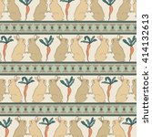 rabbits with carrots seamless... | Shutterstock .eps vector #414132613
