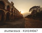 antigua city at sunset in... | Shutterstock . vector #414144067