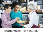 salesman offering cheese... | Shutterstock . vector #414153787