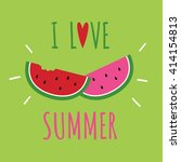 i love summer text with... | Shutterstock .eps vector #414154813