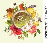 vector vintage tea cup round... | Shutterstock .eps vector #414162577