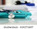 medical stethoscope head lying... | Shutterstock . vector #414171607