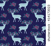 pattern with deer and flowers.... | Shutterstock .eps vector #414173023
