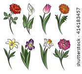 Collection Of Outlined Flowers...