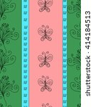 hand drawn vector floral doodle ... | Shutterstock .eps vector #414184513