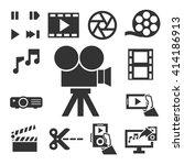 multimedia icon set | Shutterstock .eps vector #414186913