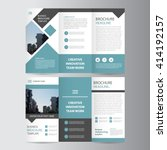 blue square geometric vector business trifold Leaflet Brochure Flyer template flat design set | Shutterstock vector #414192157