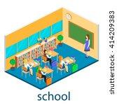 isometric interior of school....   Shutterstock .eps vector #414209383