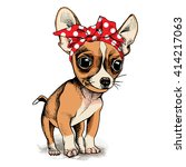 puppy chihuahua in a headband.... | Shutterstock .eps vector #414217063