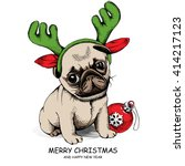 puppy pug in a antler and with... | Shutterstock .eps vector #414217123