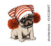 puppy pug in a hat with pom pom.... | Shutterstock .eps vector #414218047