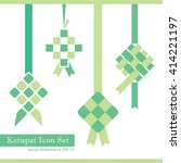 set of ketupat icon in 4... | Shutterstock .eps vector #414221197