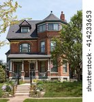 brick victorian house with...   Shutterstock . vector #414233653
