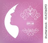 card with the profile of woman  ... | Shutterstock .eps vector #414256093