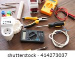 different electrical tools on... | Shutterstock . vector #414273037