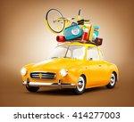 retro car with luggage. unusual ... | Shutterstock . vector #414277003