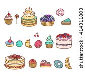 set of colorful tasty cakes ... | Shutterstock .eps vector #414311803