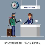 man with big suitcase and... | Shutterstock .eps vector #414315457