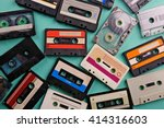 set of old audio cassettes on... | Shutterstock . vector #414316603