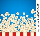 heap popcorn for movie lies on... | Shutterstock .eps vector #414336667