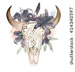 Watercolor Isolated Bull's Hea...