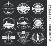 fishing white emblems on black... | Shutterstock .eps vector #414344923