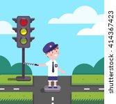 Traffic Officer Cop Kid Workin...