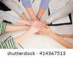close up of people's hands in... | Shutterstock . vector #414367513