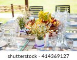 table set dishes and decorated... | Shutterstock . vector #414369127