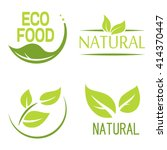 Set of bubbles, stickers, labels, tags with text. Natural, eco food. Organic food badges in vector (cosmetic, food). Vector logos. Natural logos with leaves. | Shutterstock vector #414370447