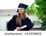 a beautiful graduate girl in... | Shutterstock . vector #414398803