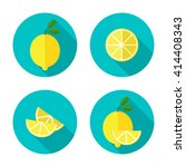 juicy lemon with slice. lemon... | Shutterstock .eps vector #414408343