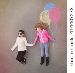 children are holding hands... | Shutterstock . vector #414409273