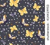 Yellow Butterflies. Seamless...
