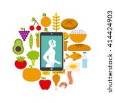 healthy lifestyle design  | Shutterstock .eps vector #414424903