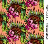 tropical plant pattern | Shutterstock .eps vector #414440353