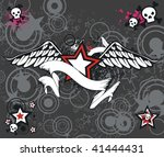 winged star with skull in... | Shutterstock .eps vector #41444431