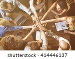 team unity friends meeting... | Shutterstock . vector #414446137
