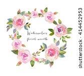 watercolor floral frame.... | Shutterstock . vector #414452953