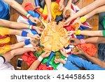 top view of multiethnic hands... | Shutterstock . vector #414458653