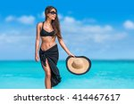 elegant beach woman in bikini... | Shutterstock . vector #414467617