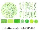 set of watercolor green logo.... | Shutterstock .eps vector #414506467