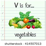 flashcard letter v is for... | Shutterstock .eps vector #414507013