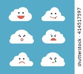 clouds cute emoji  smily... | Shutterstock .eps vector #414517597